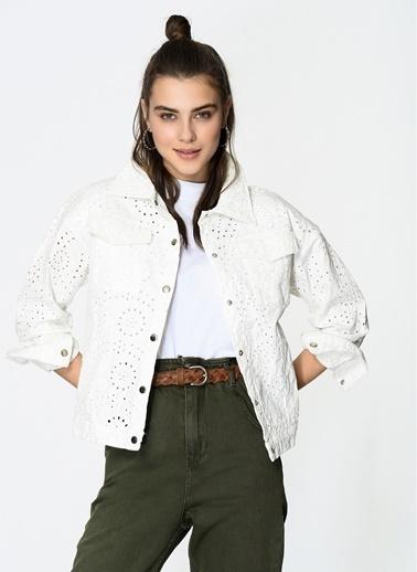 Loves You Fisto Denim Ceket Beyaz